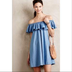 Alexa Chung for AG off the shoulder denim dress xs